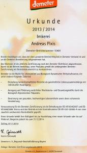 Demeter-Urkunde 2013-2014