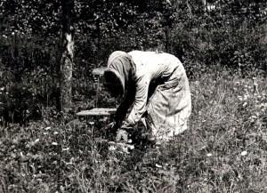 Hertha Pixis beim Schwarmfang im Garten