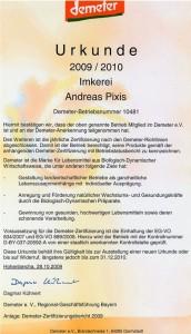 Demeter Urkunde 2009-2010