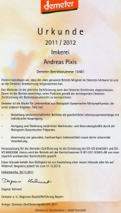 Demeter-Urkunde 2011-2012