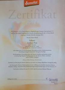 Demeter-Zertifikat 2014