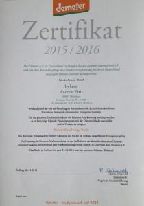 Demeter Zertifikat 2015/2016